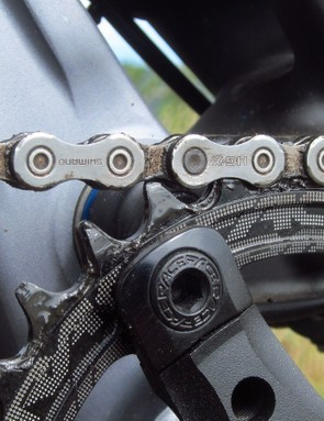 We've found Race Face's Narrow/Wide chainrings to offer excellent chain retention in the past and this experience was no different. Kudos to GT for including a real Shimano chain, too - although the official specs call out a KMC one instead