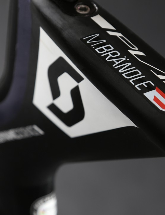 Brändle's name is displayed on the top tube above the Plasma's distinctive z-shaped seat junction