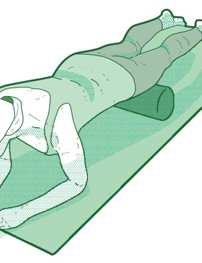 Your thighs are stretched by using the roller while on your front
