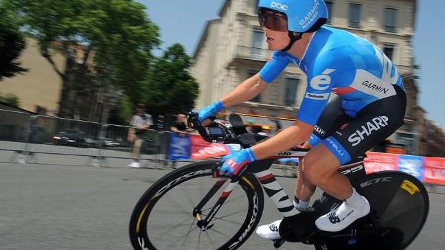 Andrew Talansky atop the Cervéo P5 in the Criterium du Dauphiné