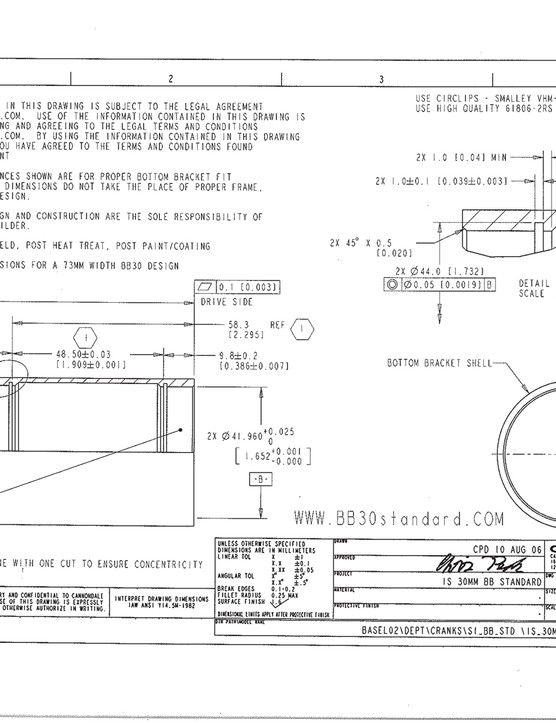 Official prescribed bottom bracket shell dimensions and tolerances for a BB30 bottom bracket shell
