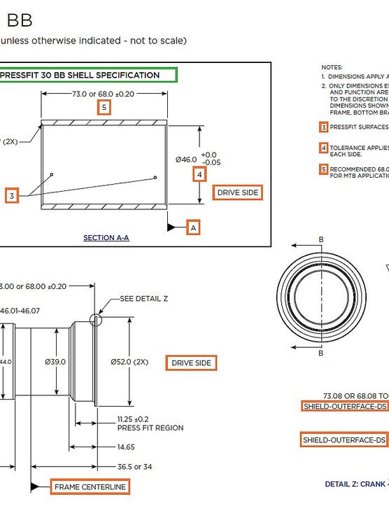 Official prescribed bottom bracket shell dimensions and tolerances for a PressFit 30 bottom bracket shell