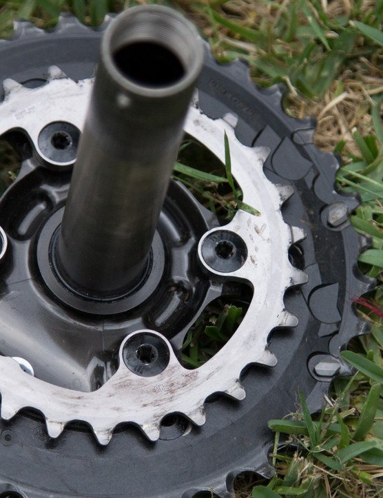 There's one bolt circle design for all chainring combinations. Torx T27 (not a typo) bolts hold it all together from the inner side