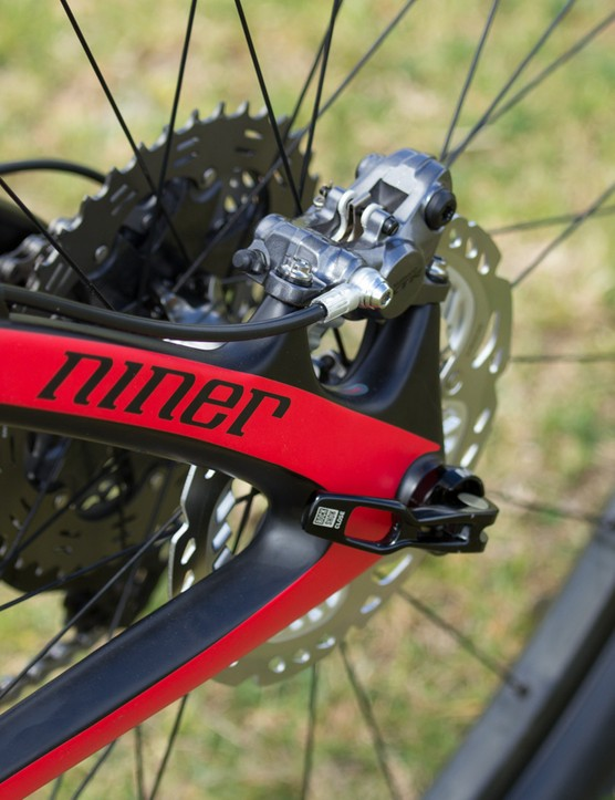 A view of the brake. The low-profile caliper will prove useful on frames with tight clearance