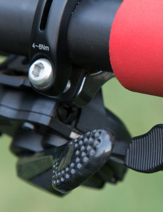 The shift levers are textured for easier shifting in severe conditions