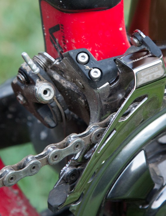 The big story in the front derailleur department is the new side-mount standard, something that wasn't fitted to our frame due to it needing a new specific cable routing design