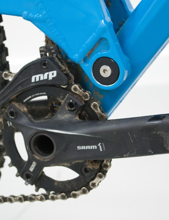 SRAM's excellent X1 drivetrain is further secured with a chain device from MRP