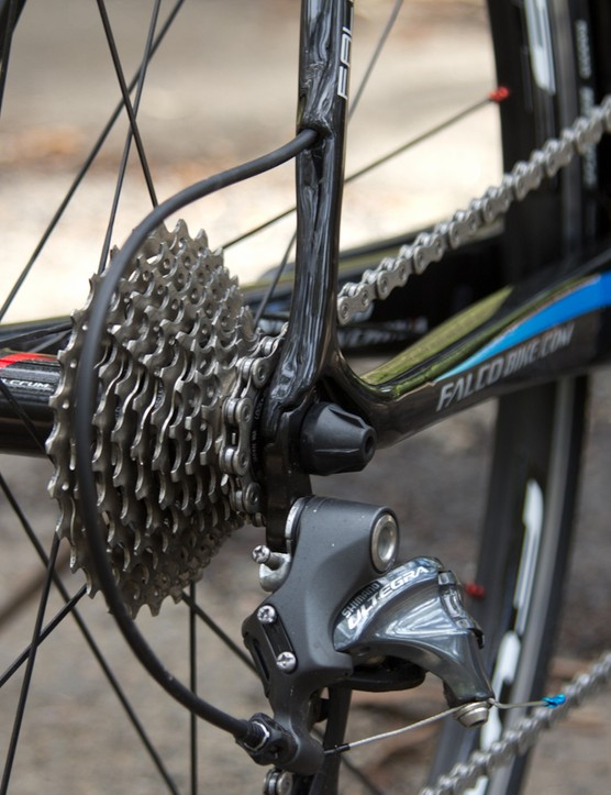 The rear derailleur cable routing requires a massive loop of housing