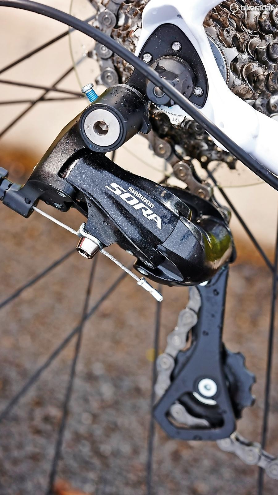 Shimano's nine-speed Sora works well and has a light shifting action