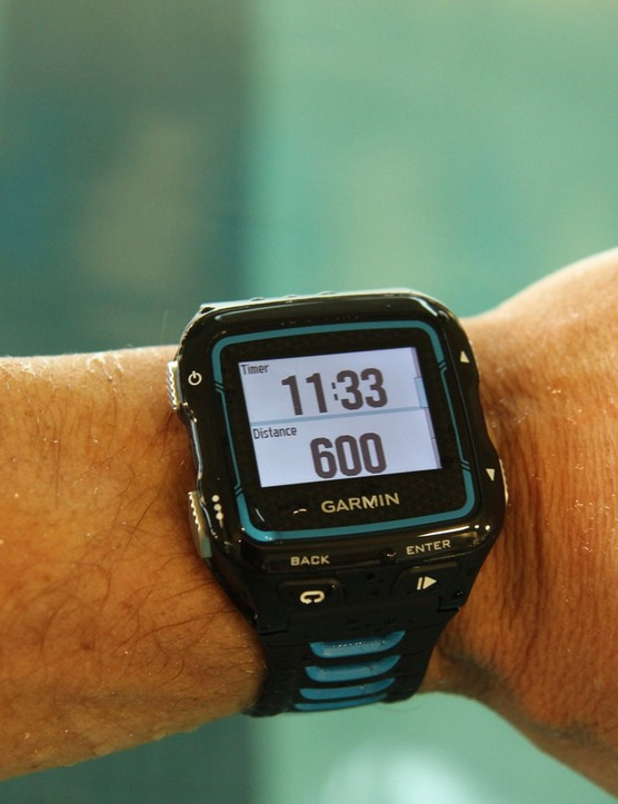 Indoor Swim mode tracks distance via accelerometer, which works surprisingly well (though not perfectly)