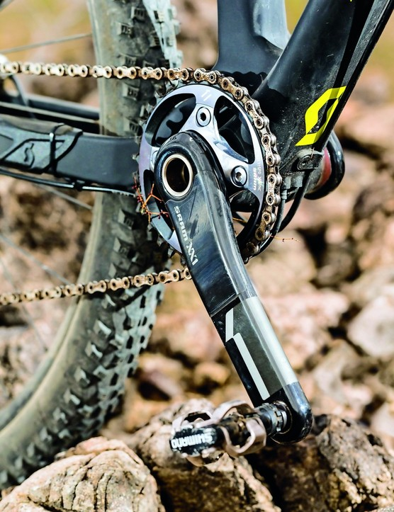 The finishing kit is all race focused, with SRAM XX1 on shifting duties
