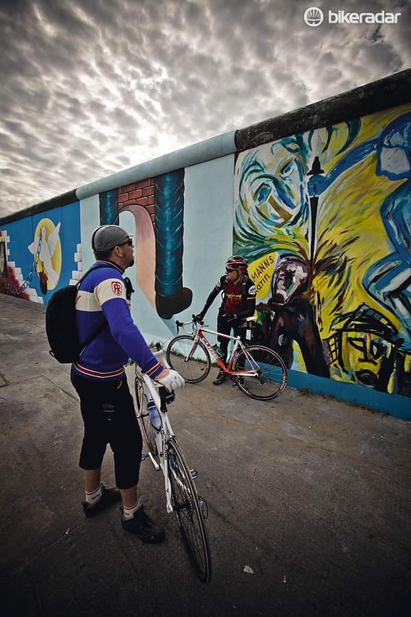The East Side Gallery is the longest remaining stretch of the Berlin Wall. It's worth a break in your ride