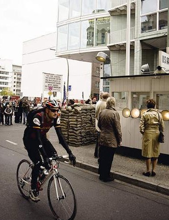 Checkpoint Charlie comes early on in the ride. There's a lot of cobbles from here on in