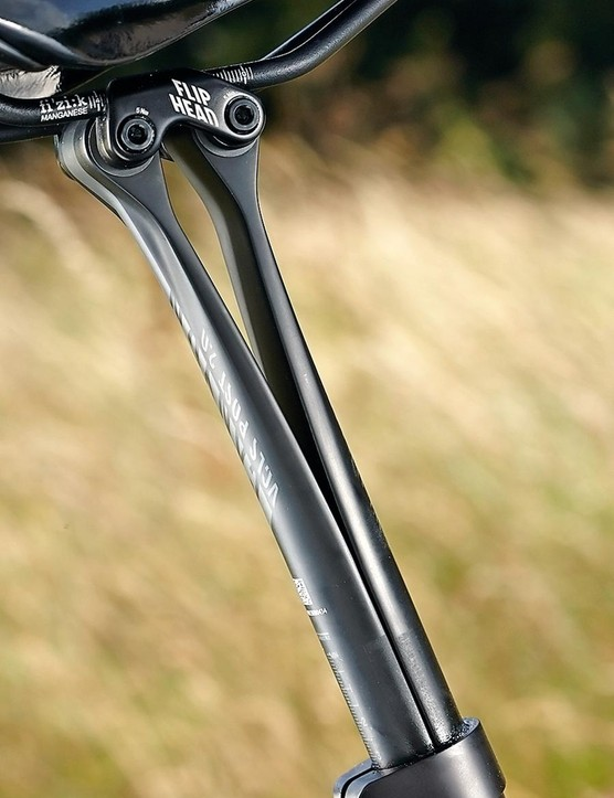 The seatpost's two independently acting halves create comfort-giving suspension