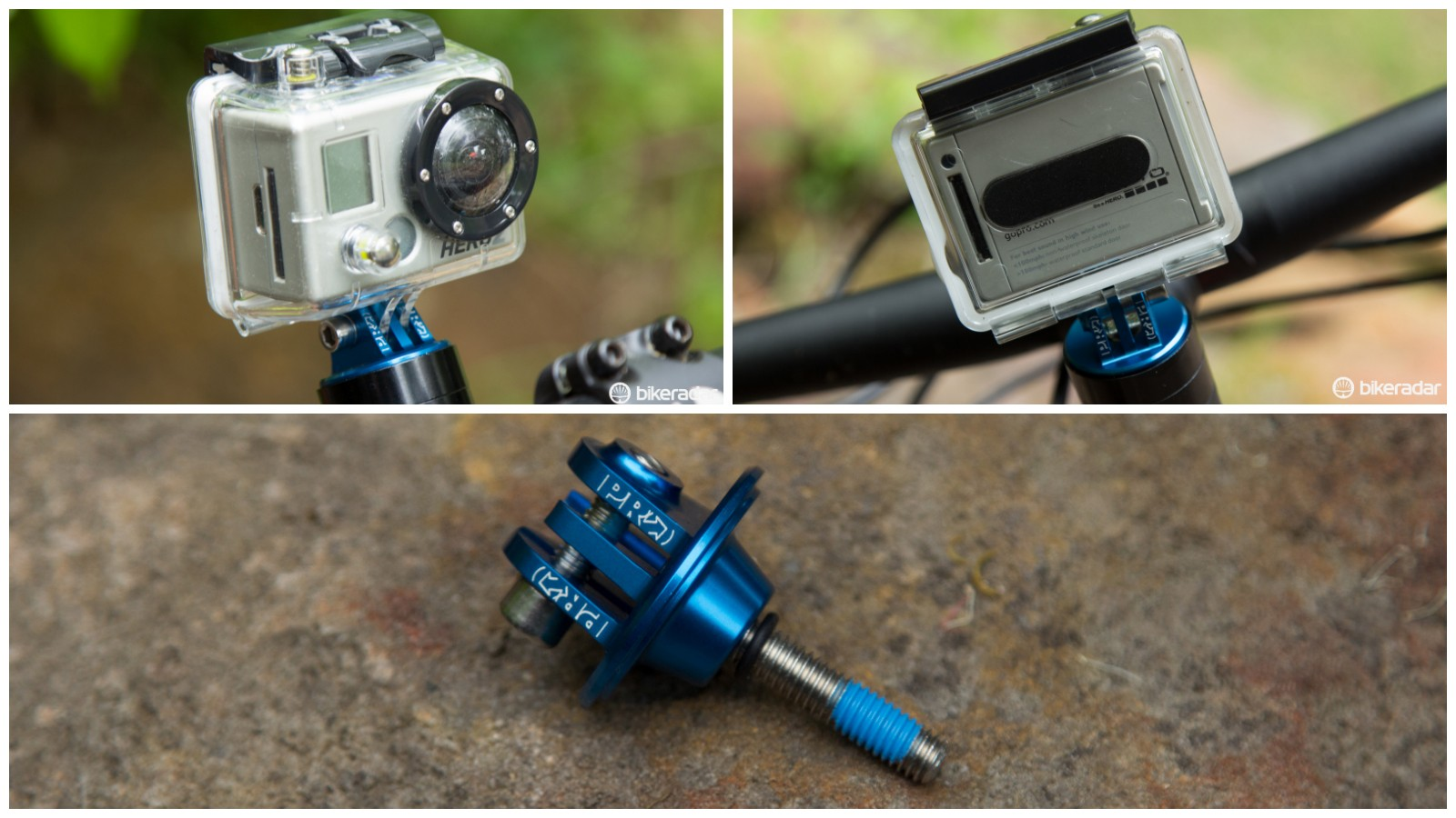 This item from PRO replaces a 1 1/8in threadless top cap with a Go-Pro type camera mount. Clever