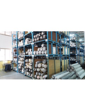 Huge racks of material are carefully stored and categorised