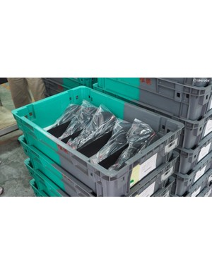 Saddles designated for OEM customers are simply packaged in these plastic crates, which will eventually make the round-trip journey to be refilled again