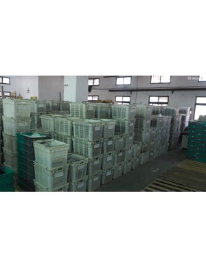 Crates are stacked up all over the factory