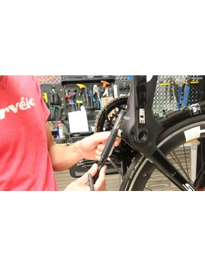 Cervelo could have reshaped the S5 aero seatpost to fit the battery, but instead choose to center it lower on the bike