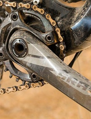 SRAM's super-secure and intuitive single-ring, single shifter transmission makes an appearance here