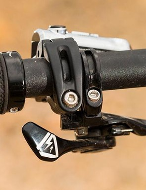 Specialized neatly integrates its dropper post lever where you'd normally a front shifter