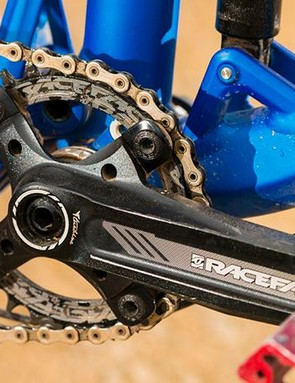 Power leverage comes from a single-ring Race Face Turbine crankset