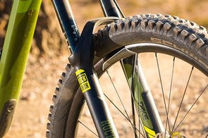 The RockShox Pike RC fork gets externally adjustable travel as well as a custom offset for swifter than expected handling