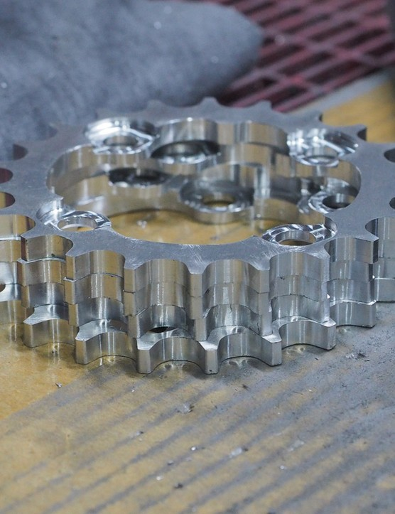 These inner chain rings still have several steps to go before they're ready for sale