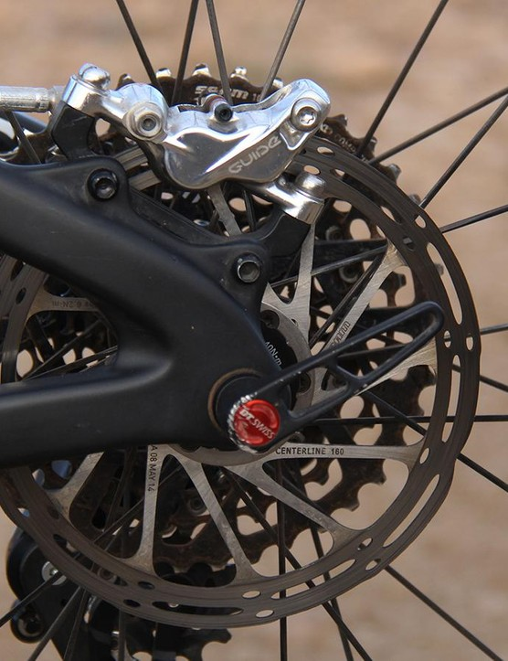 All three levels of the Guide brakes share the same four-piston caliper as the Avid X0 Trail brakes they replace. The new Centerline Rotor was designed to run cooler and quieter than previous SRAM/Avid rotor designs