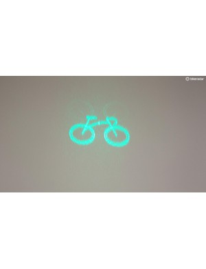 The laser projects an image of a bike in front of you, and is designed to make you more visible to drivers