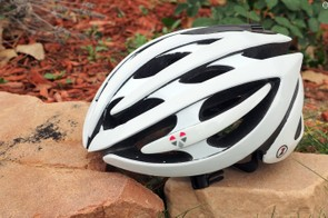 Lazer's updated Genesis LifeBEAM helmet has a new built-in heart rate monitor that supposedly has a longer battery life than the original and a more comfortable brow pad. It also now transmits in both ANT+ and Bluetooth 4.0