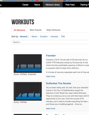 You can search workouts by zone, duration or intensity