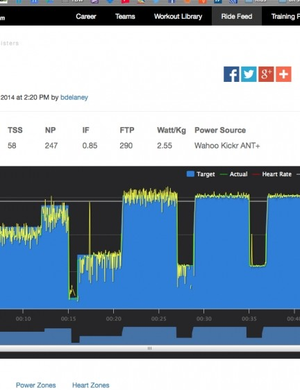 Using an electronic trainer, TrainerRoad controls the resistance, so you have no choice but to power through the workout at the prescribed levels. That said, you can 'bail out' on the fly by adjusting the intensity with the up/down arrows on your computer