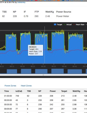The software analysis of completed workouts is fairly straightforward and you can download the file for upload to Strava, TrainingPeaks or other sites