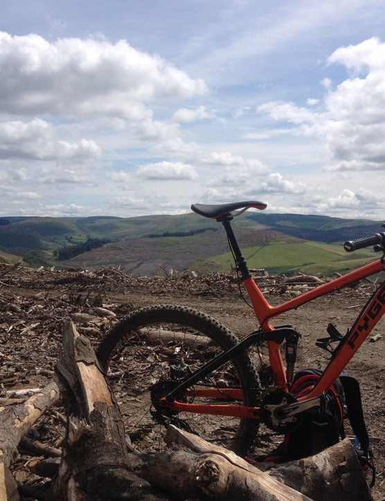 Mark Adamson's Pyga OneTwenty650 almost at the top of Y Wall at Afan Forest in Wales