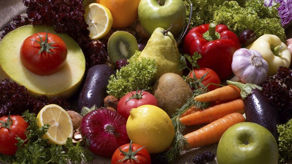 As fruit and vegetables are less calorie-dense than meat, you get to eat loads more of them!