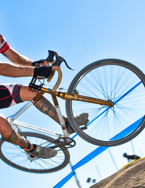 Vegan athlete Matt Ruscigno competing in the SoCal CX OC race in 2012