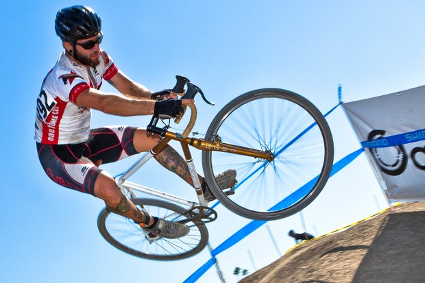 Vegan athlete Matt Ruscigno competing in the SoCal CX OC race in 2012
