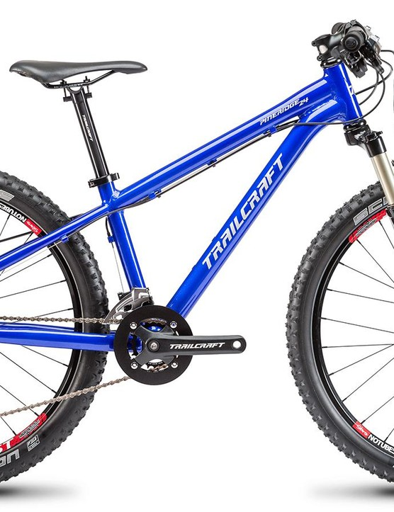The Pineridge 24, shown here in blue, features name brand components from Shimano and NoTubes, among others