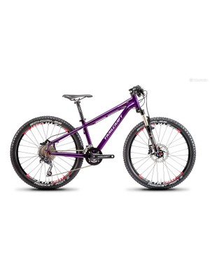 The Pineridge 24, shown here in purple, features a double-butted 7005 aluminum frame