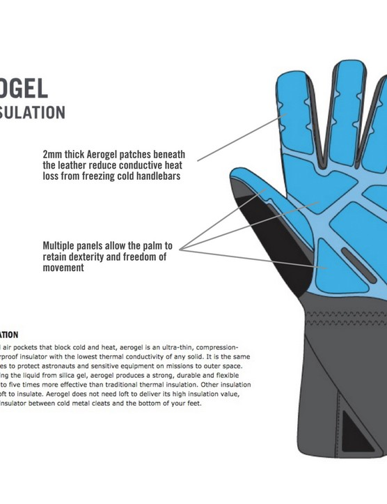 45NRTH claims the Sturmfist gloves' aerogel palm insulation is better able to protect your hands from frozen handlebar grips than traditional insulation materials