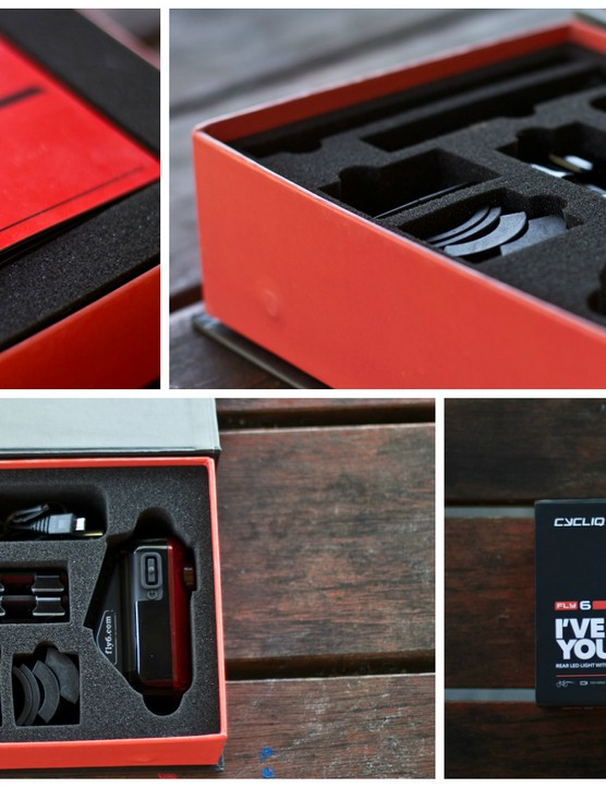 The new Fly6 comes well presented in a foam-lined box with cutouts for the light and accessories