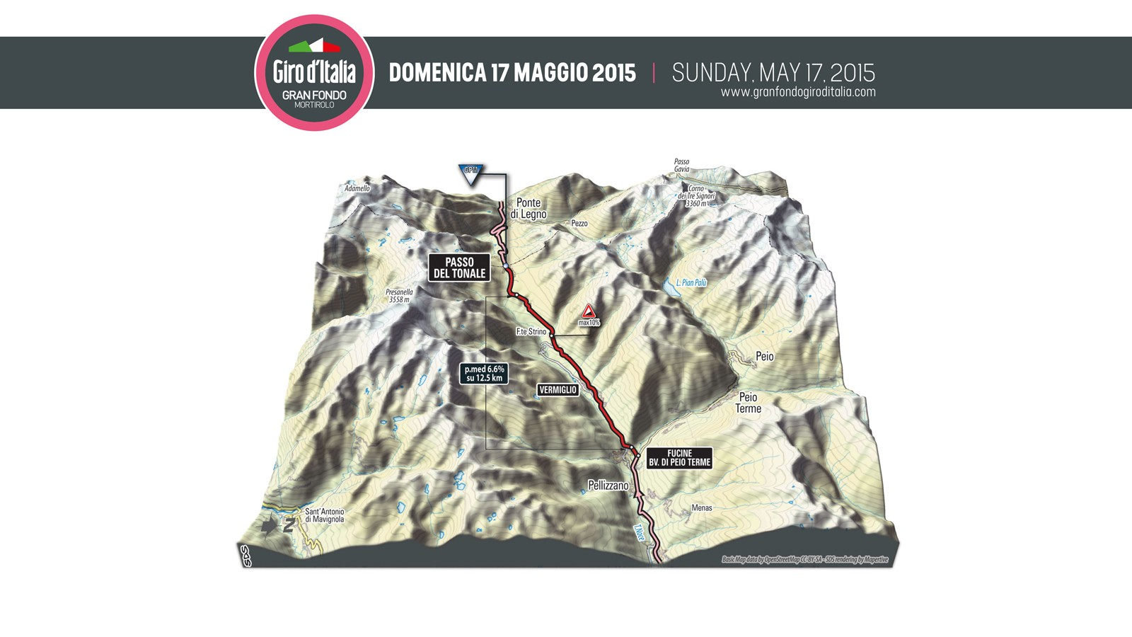 This 3D map of the Passo del Tonale climb gives an idea of the lumpy landscape in store for riders