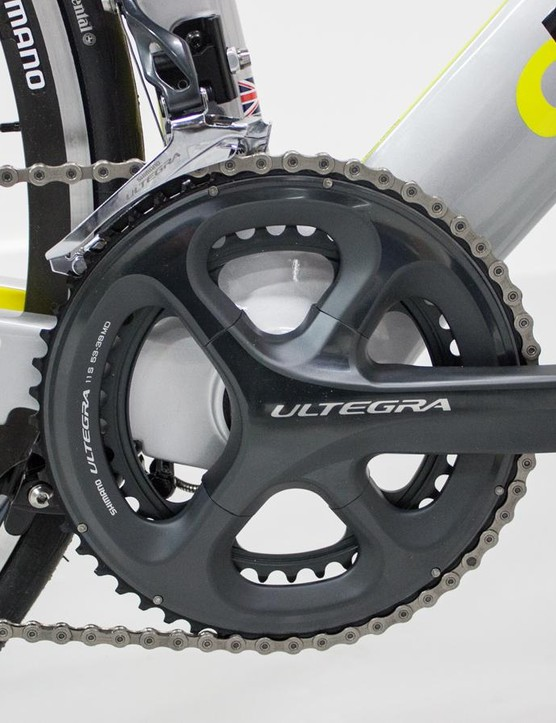 Boardman use Shimano's four-bolt Ultegra crankset with a PF30 converter