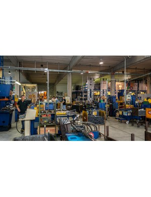 A view of the factory floor, from near the entrance. It's a small, efficient operation