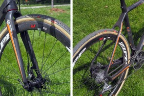 The meaty carbon fork is matched to a relatively stout-looking wishbone rear end