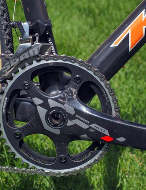 Whereas many SRAM-sponsored 'cross racers are moving to the company's single-ring drivetrain, Helen Wyman prefers the extra range of the traditional 2x system