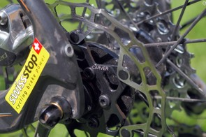 Helen Wyman uses rotors from UK company Carver (which are essentially rebadged discs from Taiwanese manufacturer Ashima). These aggressively milled-out rotors are her preferred setup for dry courses, while muddy conditions bring out discs with completely solid braking surfaces for reduced pad wear