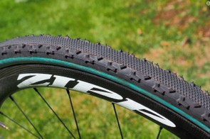 Helen Wyman has several sets of Chicane tires available to her, including this earlier version that uses a different intermediate tread shape than what ended up in production