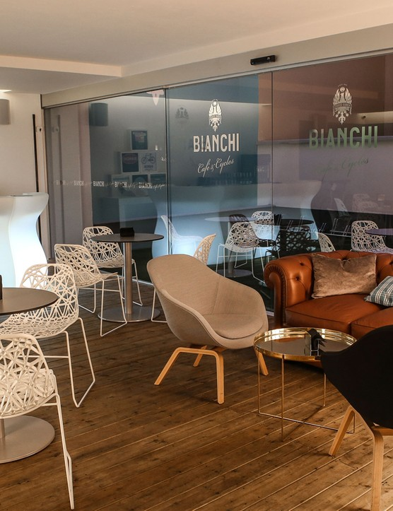 The cosy interior of Bianchi Café & Cycles in Milan